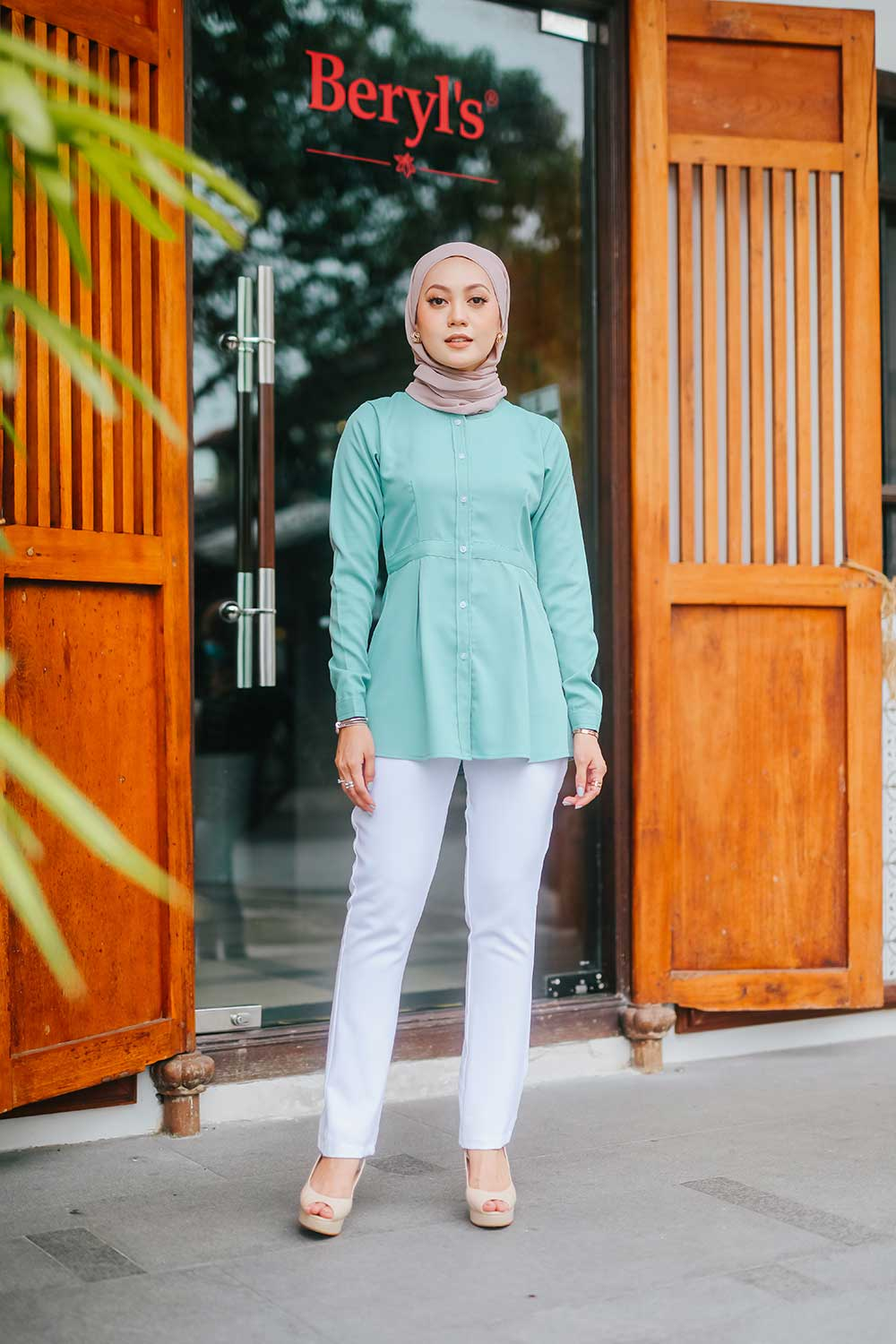 LULU BLOUSE – DUSTY GREEN